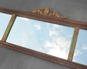 RESERVED...Antique Buffet Sideboard Mirror Gesso Frame Brown, Green, Gold Etched Flower Triple Divided Three Part Shabby Chippy Long Accent