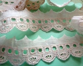 """Embroidery Eyelet Beading Lace Trim, Ivory, 1 5/8"""" inch wide, 1 Yard, For Apparel, Decor, Scrapbook, Mixed Media, Apparel"""