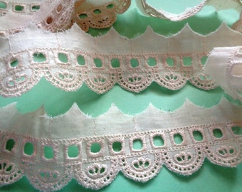 "Embroidery Eyelet Beading Lace Trim, Ivory, 1 5/8"" inch wide, 1 Yard, For Apparel, Decor, Scrapbook, Mixed Media, Apparel"