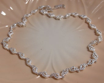 Napier Delicate Silver Tone Rhinestone Choker Necklace Perfect for a Bride or Special Occasion