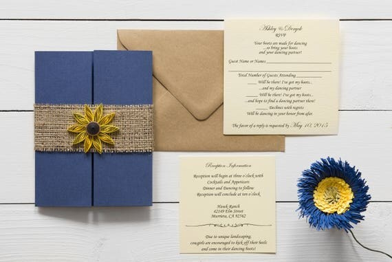 Navy Blue Invitations Wedding: Sunflower Navy Wedding Invitation Dock Wedding Invitation