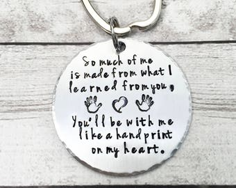 Teacher Keychain - Teacher Gift - Handprint on My Heart - Gift for Teacher - Personalized Teacher Keychain