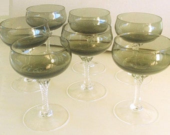 Vintage Crystal Stemware, Sasaki Hawthorne wine glasses, 7 Smoke Green Glass with Clear Twist stems, champagne glasses barware glassware