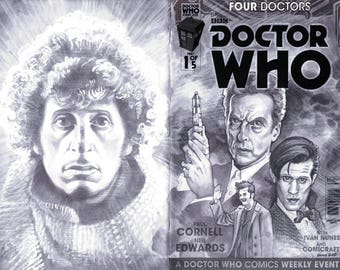 Comic Book Sketch Cover- Doctor Who 4 doctors