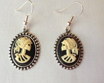 Halloween/Day of the Dead Skeleton Cameo Earrings