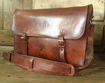 British Leather Messenger Bag Satchel Telegraph Postal Chestnut Brown Tool Engineer Case