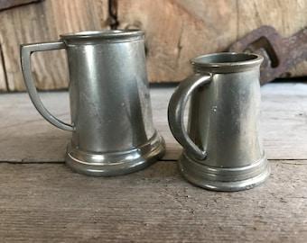 Sheffield English Pewter Measuring Tankard Mugs, Barware, Set of 2