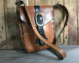1970s Cigar Brown Leather Handbag, Saddlebag, Handcrafted Artisan, Shoulder Bag