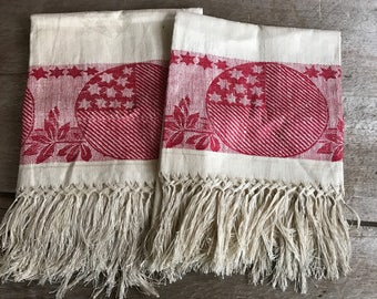 Antique White Red Damask Linen Show Towels, Patriotic Stars and Stripes, Jacquard Woven Design, Kitchen Tea Towels, Table Runner, Set of 2