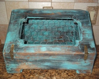 breadbox vintage shabby chic, distressed black and blue with chicken wire