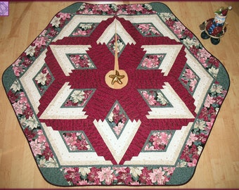 Quilted Christmas Tree Skirt Quilt Burgundy Poinsettia 115