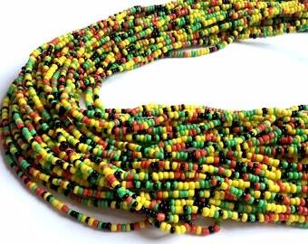 Red, Yellow, Green & Black Handmade African Waist Bead (Thin) *per one strand*
