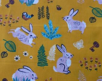 1/2 Yard Organic Cotton Fabric - Birch Fabrics, the Hidden Garden, Bunny Hop Marigold