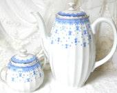 vintage tea set blue copeland tea set teapot vintage teaset blue and gold blue tea set  blue teapot copeland fleur de lis