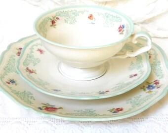 vintage green teacup trio vintage teacup green floral tea cup vintage floral tea cup trio vintage teacup green tea cup  1000