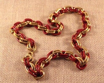 Avon Gold Tone and Red Spectator Link Necklace - Vintage 1993
