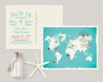 World map Destination wedding map The Bahamas - customizable with your venue location - bilingual wedding invitation Save the Date Card