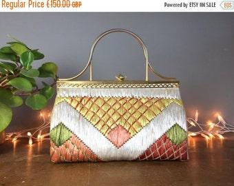 ON SALE Vintage 1940s Handbag, Kelly bag, gladstone bag, structured bag, mid century fashion, 1950s pinup purse