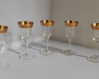 Tiffin Gold Rimmed Cordial Glasses, 5 ,Optic Glass , Vintage
