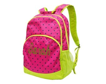 Backpack, lunch box, crossbody bag, hot Pink and  lime, polka dot backpack, backpack personalized free, 3 piece set