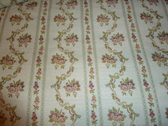Duralee Designer Fabric Yardage Embroidered Upholstery Fabric Garlands Of Roses On White