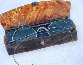 Antique wire bifocal eyeglasses - with tortoise shell case