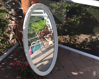 Large oval white mirror - White frame oval wall mirror = White frame oval wall mirror- BOWS AND RIBBONS on border - 19 x 36