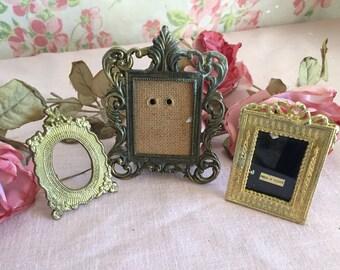 Vintage Metal Frames - Made in Italy Frame - Ornate Gold Metal Frames - Set of 3 Metal Frames