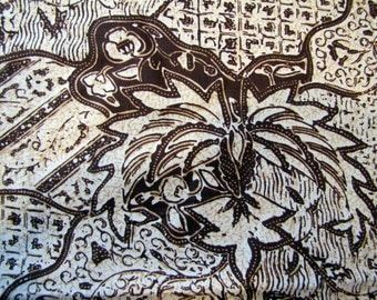 Brown Batik Style Floral Ethnic Fabric Cotton, Asian, Indian, African, Batik Style, Brown, Off-White, Floral, Quilter Weight, 1980's, 1990's