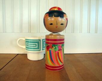 Vintage Asian Kokeshi Doll, JAPAN, Asian, Japan, Japanese, Kokeshi, Kokeshi Doll, Wood, Wooden, Hand Painted, Tall, Souvenir Doll, 1970's