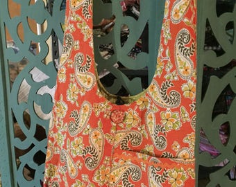 Hobo Crossbody Bag in Orchard Fresh Orange Paisley with Sage lining and 2 big Pockets. The perfect go to Bag ....