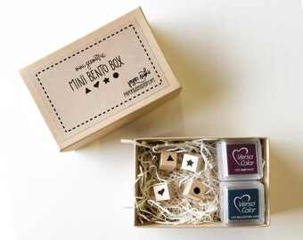 Mini Stamp Set - Paper Sushi Mini Bento Box mini stamp set with mini ink pad - your choice of color F0001