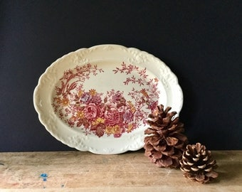 Vintage Red Floral Platter, Taylor Smith and Taylor, TST, Ironstone Platter, Red Transferware, Vintage Ironstone, Vintage Platter, Autumn