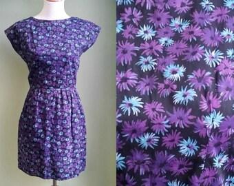 1950s Flower Works Dress - Short Cotton Dress - Sun Dress - Small