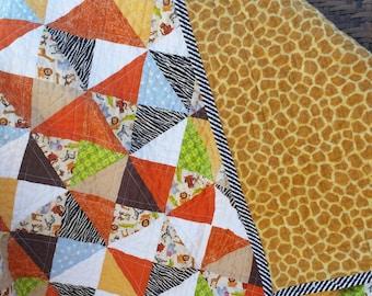 Jungle Babies Cotton Baby Quilt, Giraffe Flannel Back, Baby Boy