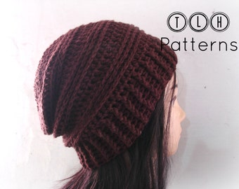 Slouchy hat pattern, crochet hat pattern, crochet slouchy beanie, Chocolate Slouchy hat, adult size, Pattern No. 36