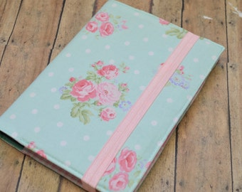Planner Cover - in Aqua and Pink Roses fabric - H2