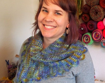 Water lilies crochet shawl, blue, green, purple, and gold scarf/wrap