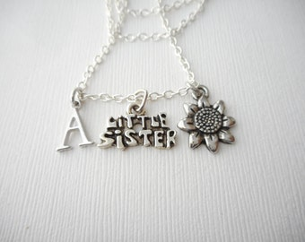 Little Sister, Sunflower- Initial Necklace/ Sisterhood gift, sister love necklace, wedding jewelry gift, sisters gift, Best Friend, lil