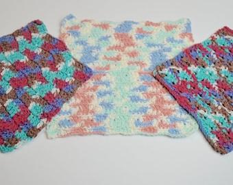 vintage potholders, set of three crochet potholders