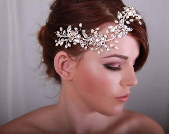 bridal hair vine ,  Wedding hairpiece - Bridal hair accessory - Silver or gold - hair vine - 1920s dress - 1920s wedding dress