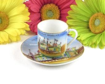 Hand Painted Porcelain Teacup and Saucer Set - Corn Palace Mitchell, SD Souvenir - Vintage Home Collectibles Decor