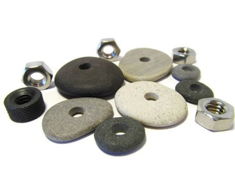 Going Circular, 7 Stone Collection, Stainless Steel Nuts, Lake Michigan, Jewelry Kit, Large Hole, Craft Supply, Kit, DIY, Discount Destash