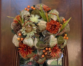 Fall/Thanksgiving Wreath with Wooden Turkey
