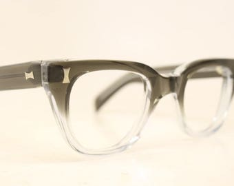 NOS Graysmoke Fade Vintage Eyeglasses 1960s Men Retro Glasses Frames Horn Rimmed Glasses New Old Stock Vintage Eyewear