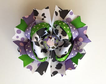 SALE! Ready To Ship Hairbow! Adorable Cow Hairbow, Farm Girl Hairbow, Cowgirl Hairbow, Polka Dot Boutique Hairbow, Girls Hairbow