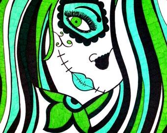 Green Sugar Skull Girl, 8x10 Inch Print, Sugar Skull Print, Dia De Los Muertos, Day of the Dead Art, Alternative Wall Decor, Sugar Skull Art