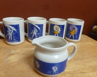 Morton Salt Mugs & Creamer set