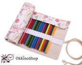 Roll pencil case fabric, travel pencil wrap, pencil holder