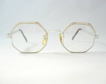 Victory Optical Vintage New Old Stock (NOS) Octagon Eyeglass Frames Creamy Off-White Enamel Silver Tone Metal 1/20 12K G.F. AB Rhinestones
